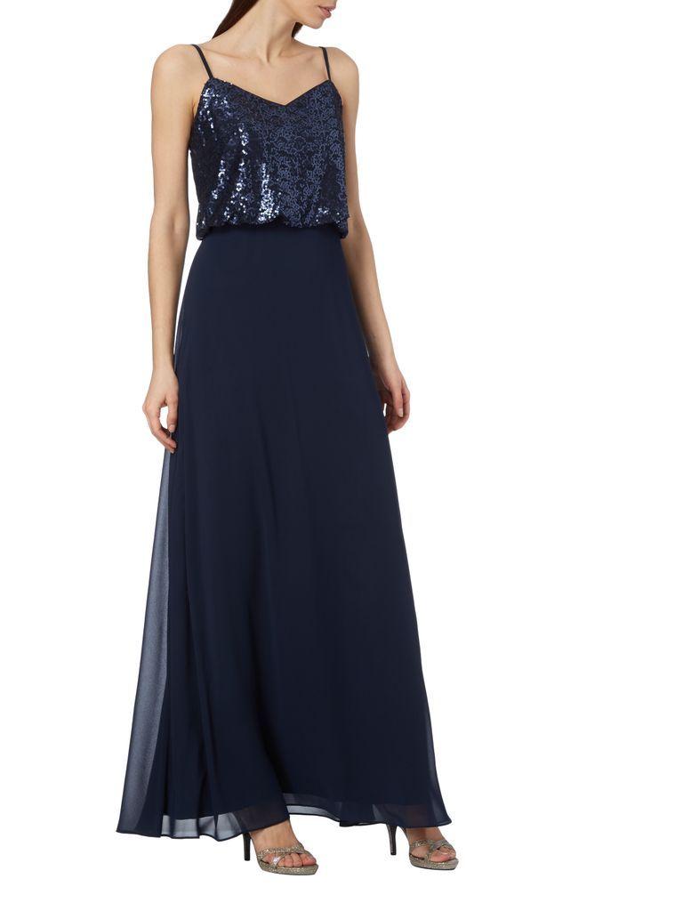 4a19b16e435eb0 Swing – Abendkleid aus Chiffon mit Pailletten-Besatz – Dunkelblau ...