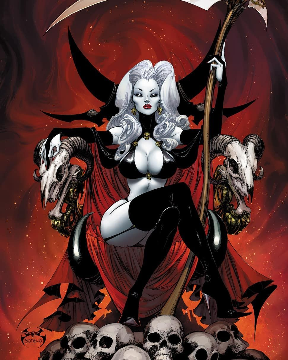 Lady Death Cover Colors By Beth Sotelo Midimew Lady Death Black Cat Art Horror Artwork
