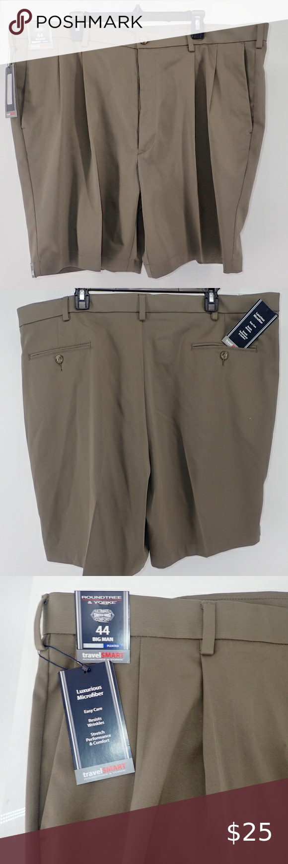 Roundtree /& Yorke Classic Fit BIG Easy Care White Pleated Walking Shorts NWT