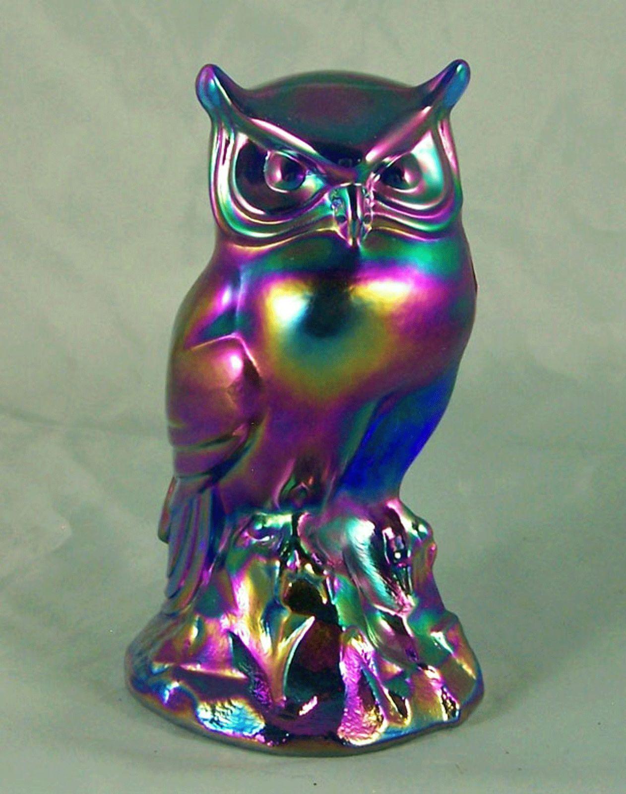 MIB Fenton Cobalt Blue Favrene Carnival Perched Owl Art Glass Paperweight Figure