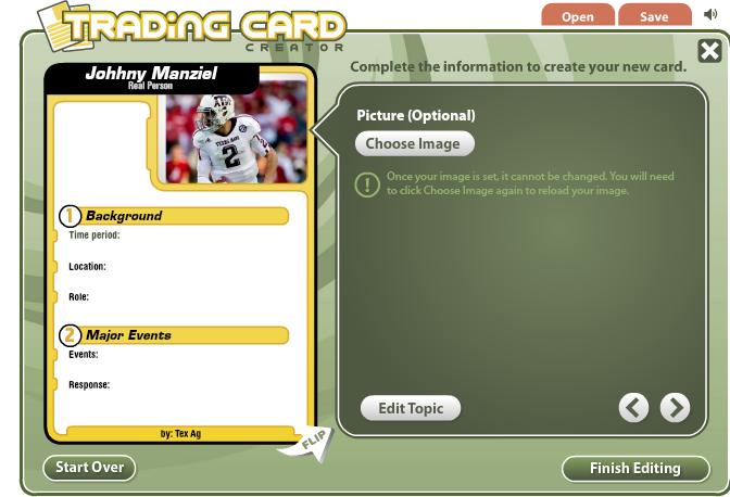 Trading Card Creator Is A Free Web  Site That Allows Students