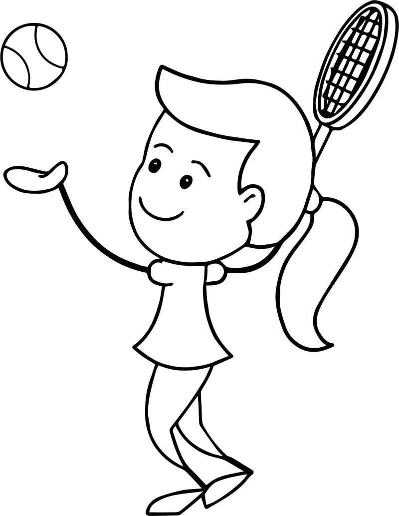 Girl Serving Tennis Ball Coloring Page Coloring Pages Coloring Pages For Kids Family Coloring Pages