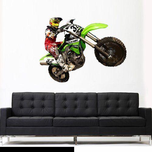 Pin On Dirt Bike Wall Stickers Bike Chopper Motorcycle Wall Decals Motocross Wall Decor