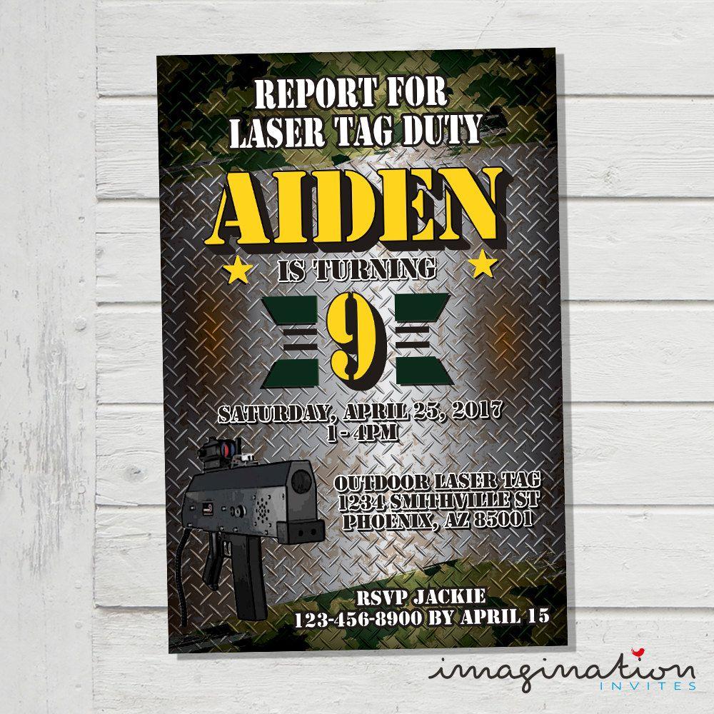 Laser Tag Invitation Outdoor Mobile Laser Tag Invite Army Camo ...