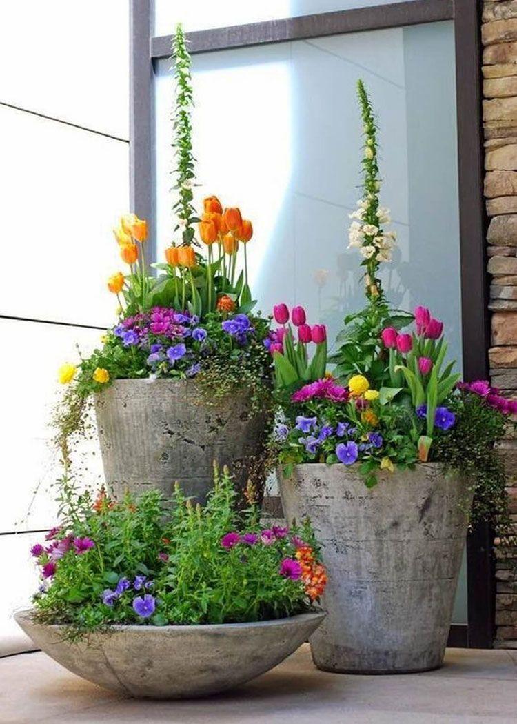 Beautiful Front Door Flowers with Concrete Planters  Best Front Door Flower Pot Ideas Pretty Porch Flower Pots and Beautiful Planters with Creative Design Arrangements