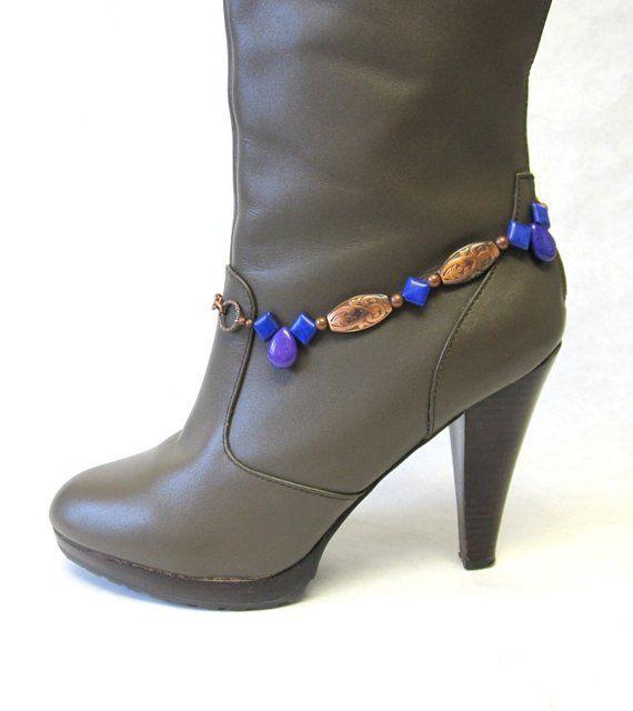 Western Jewelry Boot Bracelet Purple Stone Copper Concho Cow