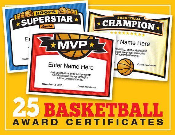 Basketball Certificates Editable 25 Award Templates Kid