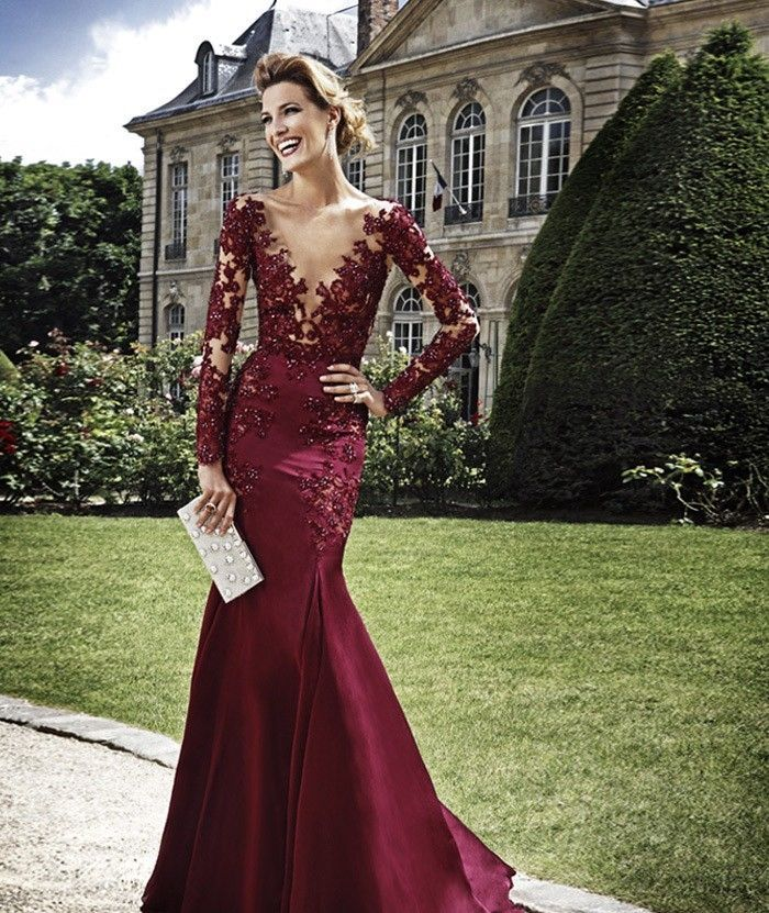 Wine Red V Neck Long Sleeve Mermaid Prom Homecoming Evening