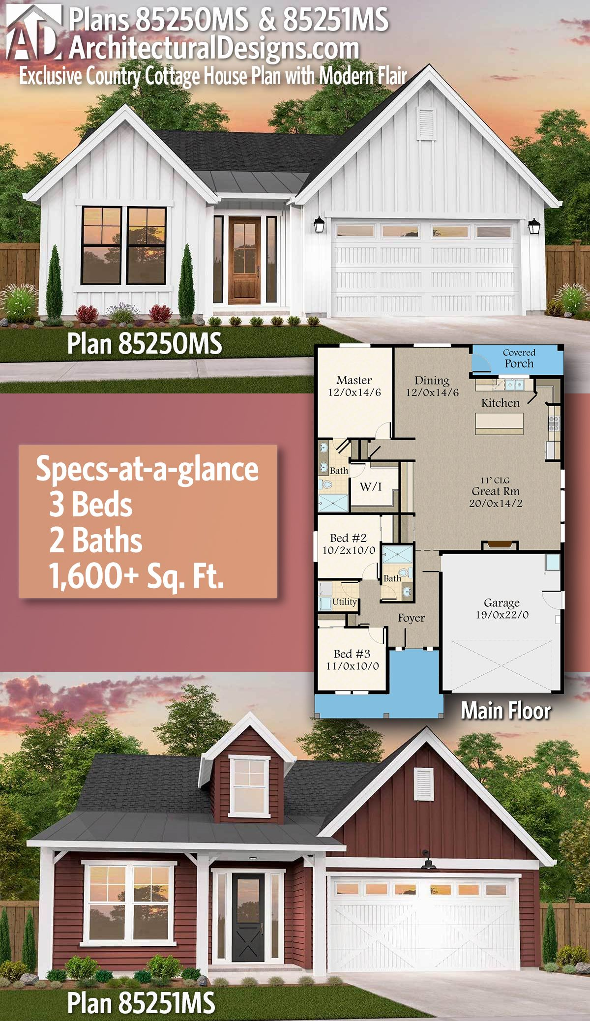 Architectural Designs Exclusive Affordable Farmhouse Plan 85250Ms & 85251Ms -