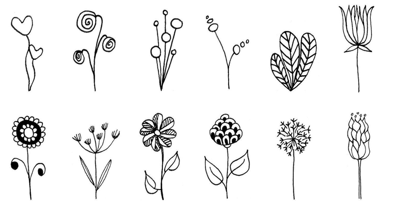 eine auswahl verschiedener doodle blumen für dich zur