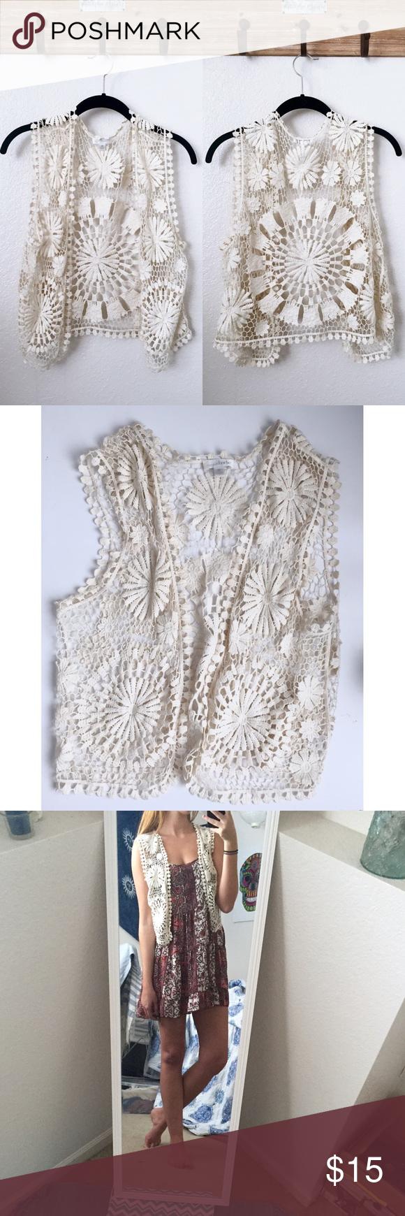 Boho cream crochet sleeveless vest Bohemian hippie crochet open-Knit ...