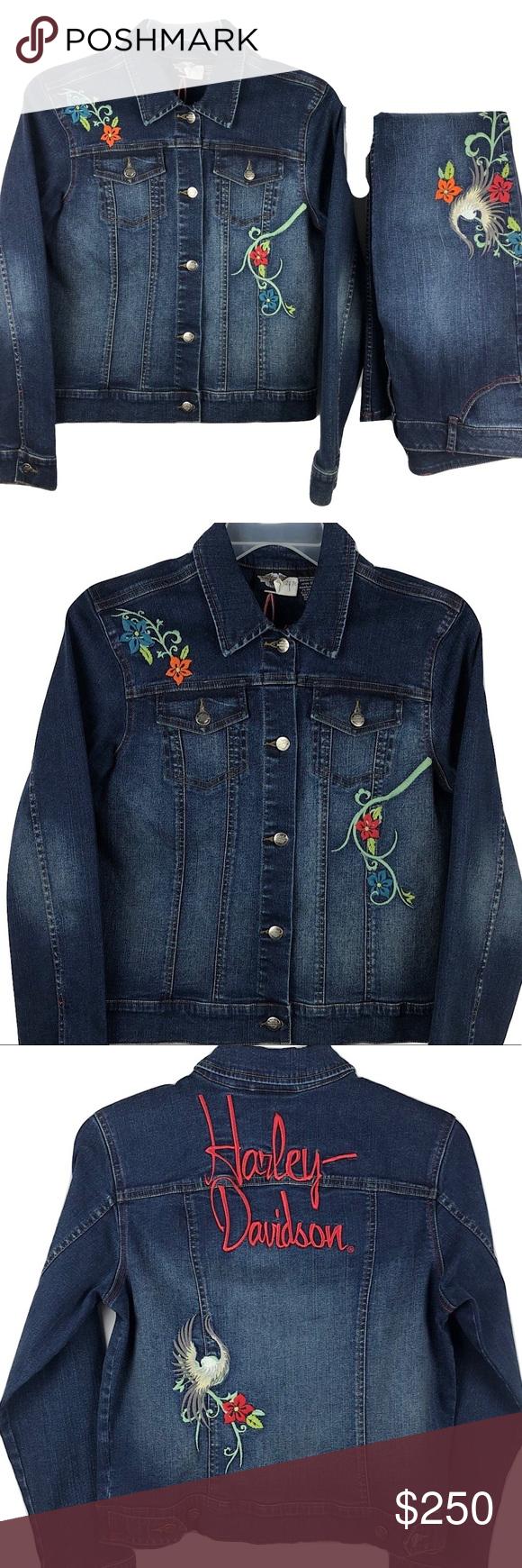 Harley Davidson Denim Jacket Blue Jean Set L 8 Embroidered Denim Jacket Embroidered Denim Clothes Design [ 1740 x 580 Pixel ]