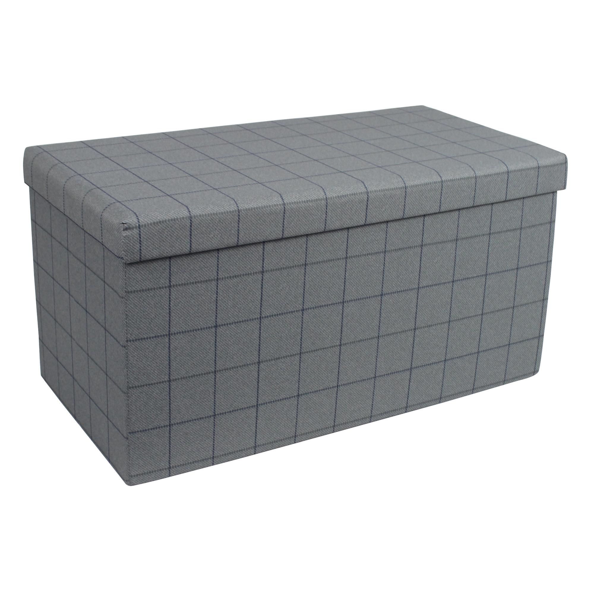 Grey Check Foldable Ottoman In 2020 Outdoor Storage Ottoman