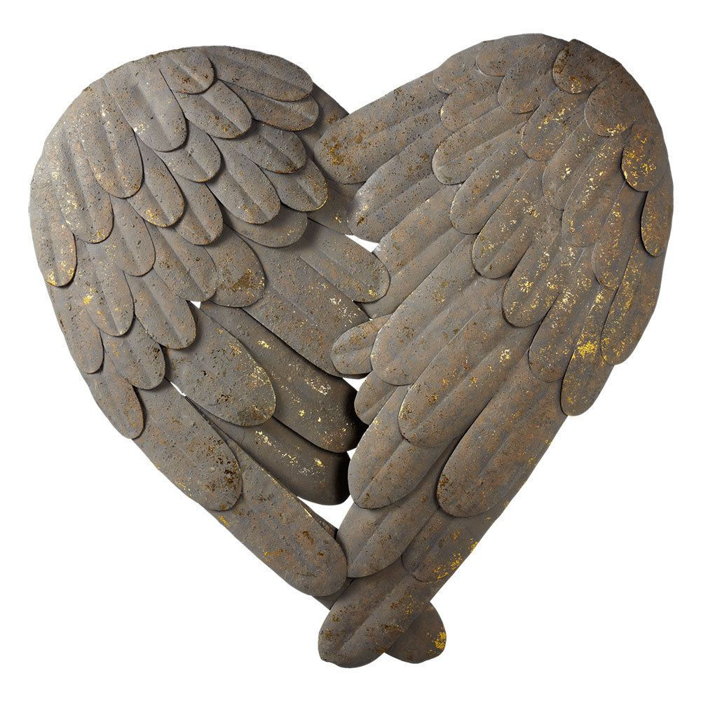 Stunning Large Grey Metal Heart Angel Wings Feathers Wall Decor