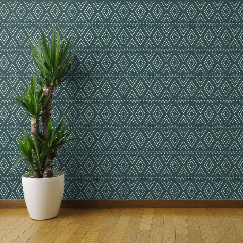 Teal Wallpaper Farmhouse Diamond Gren By Littlearrowdesign Etsy Teal Wallpaper Wallpaper Panels Peel And Stick Wallpaper