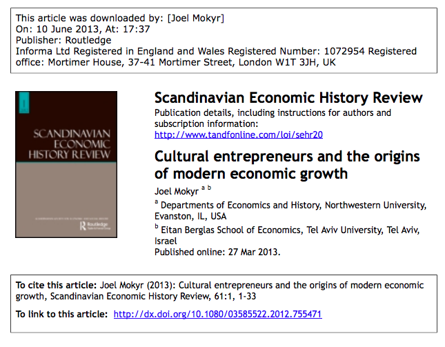 Joel Mokyr 2013 Cultural Entrepreneurs And The Origins Of Modern Economic Growth Scandinavian Economic History Review 61 1 1 33 Lettura