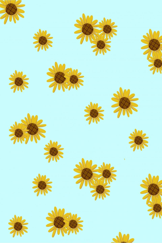 Cartoon Flower Tile Wallpaper Print Ad Cartoon Flowers Sunflower Wallpaper Flower Tile