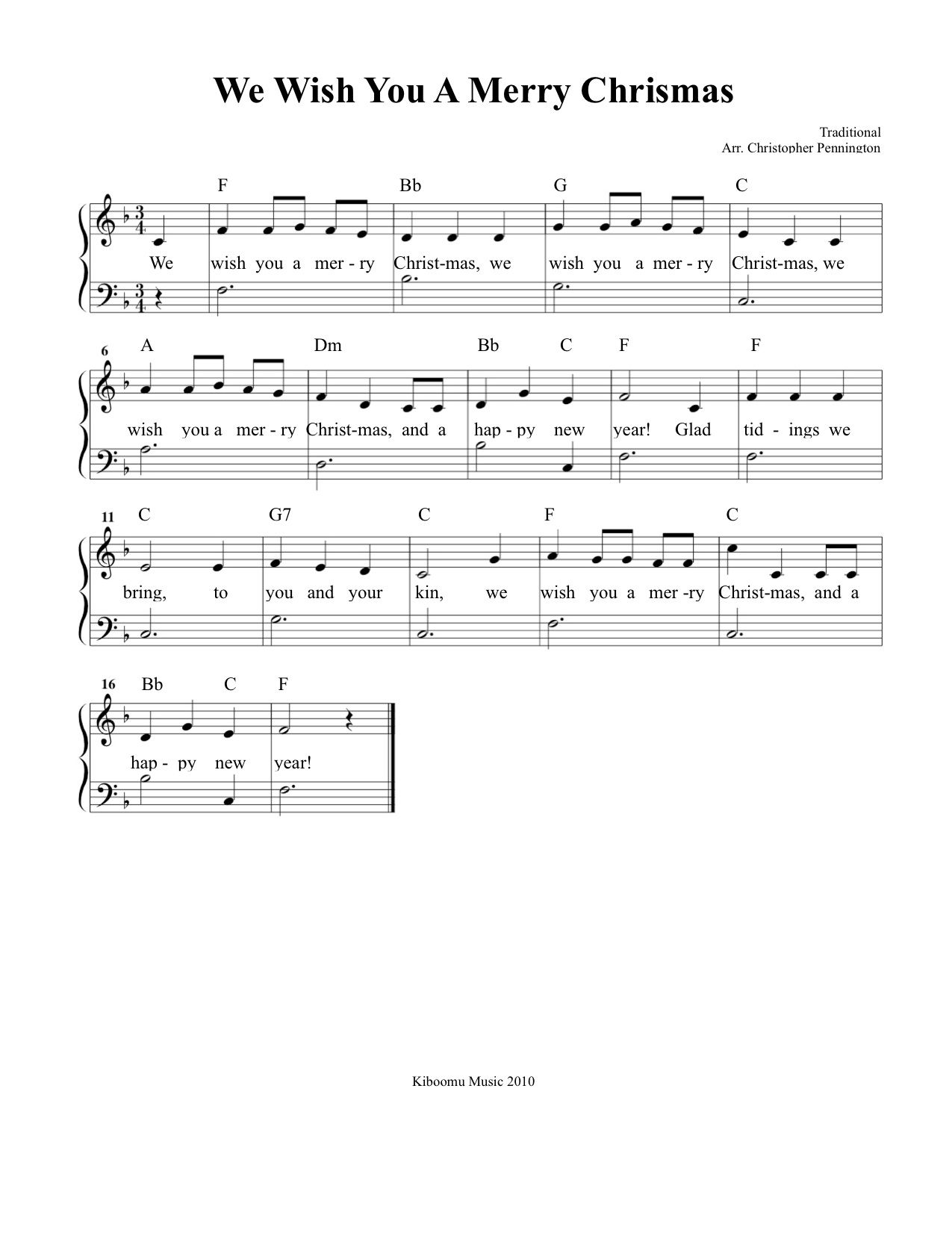 We Wish You A Merry Christmas Piano.We Wish You A Merry Christmas Sheet Music And Song For Kids