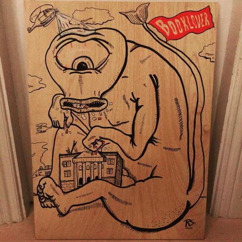 """Booklover"" made on plywood #illustrationoftheday #illustrationer  #artoftheday #art #monster #books #creative #Illustration #artist #characterdesign"