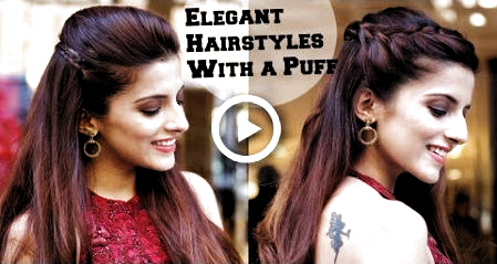 2 Min Elegant Hairstyles With A Puff For A Cocktail Party Hairstyles For Indian Wedding Occasio In 2020 Indian Wedding Hairstyles Party Hairstyles Elegant Hairstyles