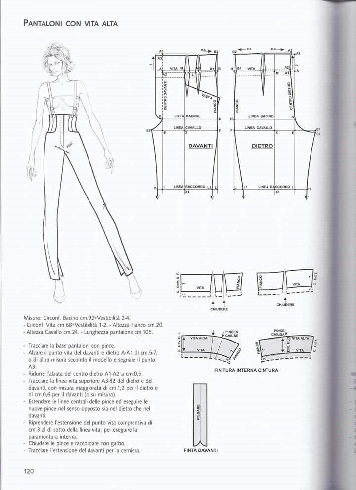 Pantaloni con vita alta. | costura | Pinterest | Reithosen ...