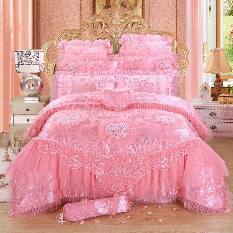 Lace Pink Red Wedding Bedding Set Queen King Cotton Bedspread Bed Cover Duvet