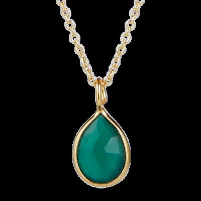Superfin halskæde i 24 kt forgyldt 925 sterling sølv med elegant grøn onyx