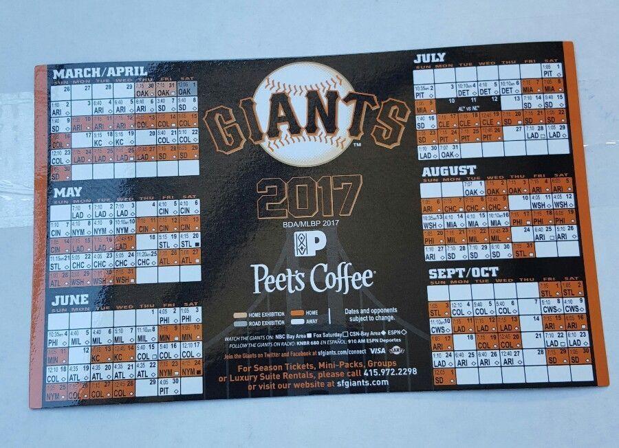 2017 San Francisco Sf Giants Magnet Schedule Sga Sports Mem Cards Amp Fan Shop Fan Apparel Amp Souvenirs Sf Giants San Francisco San Francisco Giants