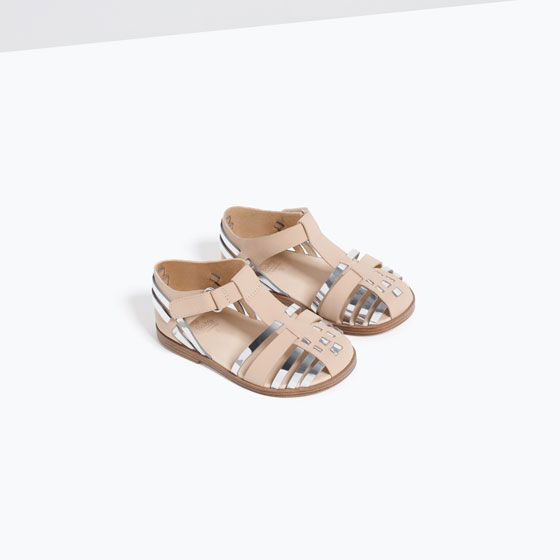 Metallic Flat Sandals From Zara Metallic Sandals Flat Toddler Girl Shoes Girls Sandals