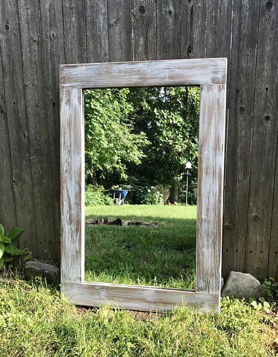 Mirror Light Whitewash Wood Wood Frame Mirror Wall Mirror Wood Framed Mirror Mirror Wall Farmhouse Mirrors