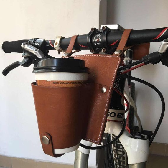 leather Bicycle Can Cage Handlebar Beverage Leather by 3cobblers