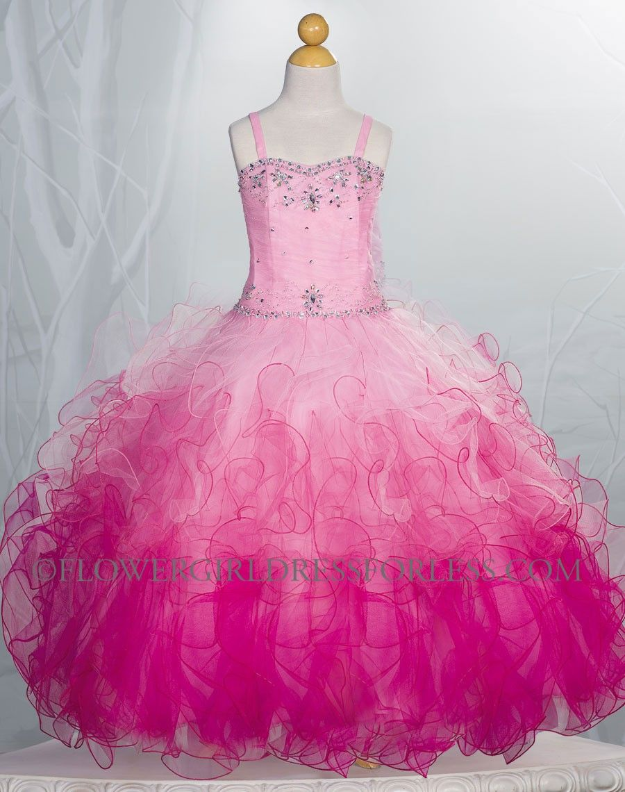 Girls Dress Style Sy107 Fuchsia Strapless Organza Dress With Ombre