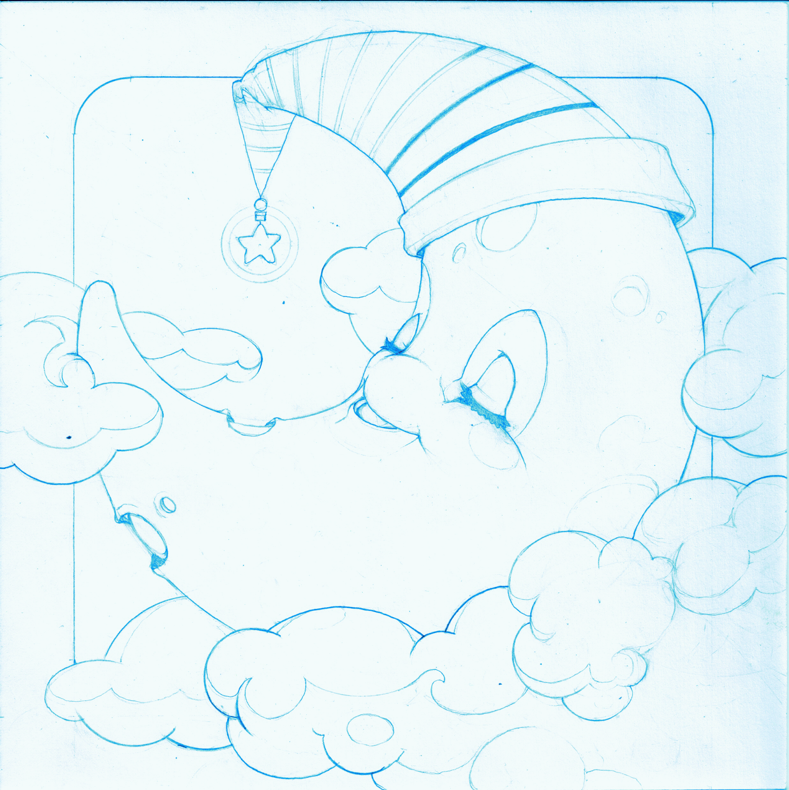 Telarts: Luna, diseño para la serie de xilografías infantiles El Cielo y los Astros