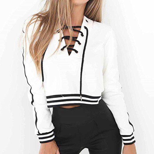 9b23bdd0808b7 Women Teen Girls V Neck Lace up Long Sleeve Striped Sweatshirt Pullover  Crop Top at Amazon Women s Clothing store