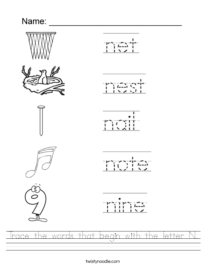 trace the words that begin with the letter n worksheet