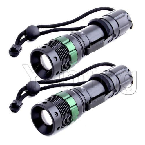 2x2000Lumen Rechargeable Tactical T6 LED Flashlight Torch+18650 Battery/&Charger