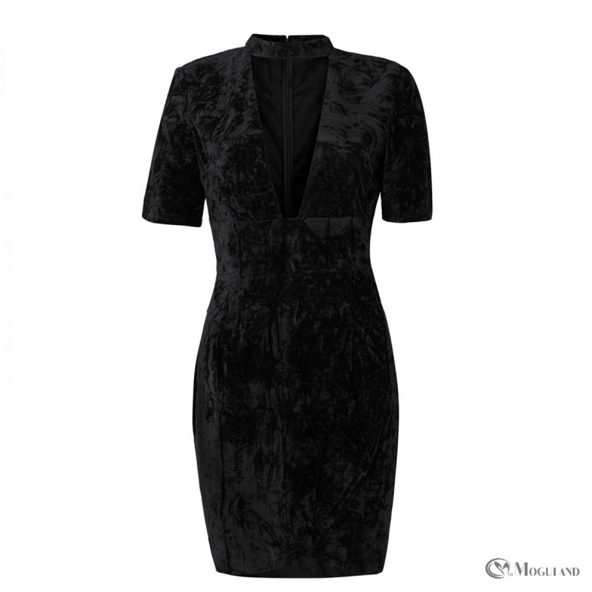 924ab2baa6 Ladies black crushed velvet choker plunge dress wholesale - dresses ...
