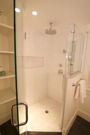 Frameless Glass Shower Door Kohler Rain Head White Subway Tile