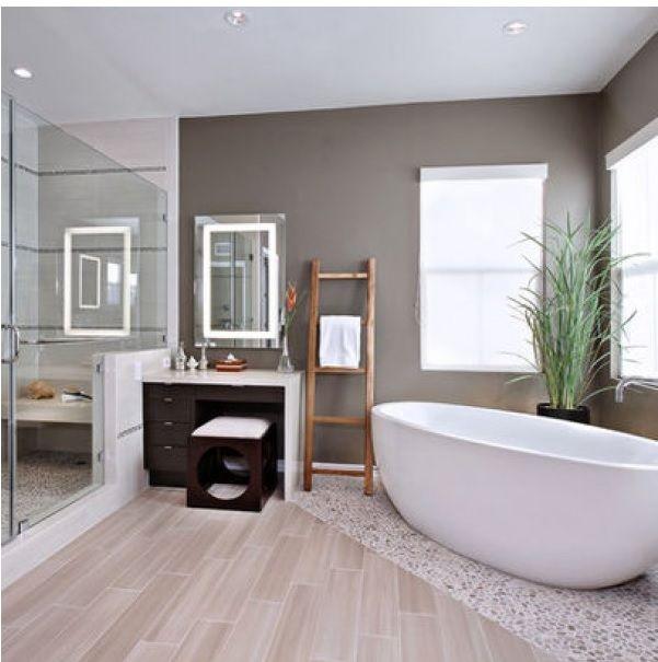 kiezelvloer gecombineerd met hout/anderevloer in de badkamer ...