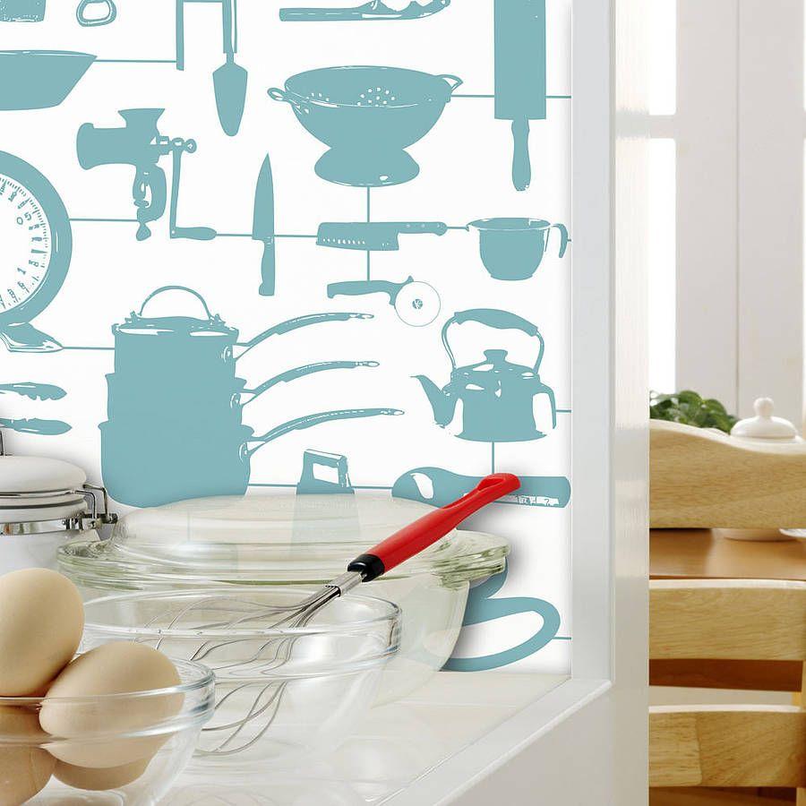 Airfix Kitchen Wallpaper Duck Egg | Kitchen wallpaper, Wallpaper and ...