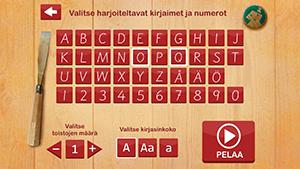 Molla ABC   NordicEdu - Molla ABC on esiopetusikäisille suunnattu suomenkielinen oppimispeli tekstauskirjainten ja numeroiden piirtämisen harjoitteluun. - mahdollisuus harjoitella vuoden 2006 ja 2016 kirjasinmalleja - pienet ja isot kirjaimet A-Ö ja numerot 0-9 - peli ohjeistaa merkkien oikeaoppisen piirtosuunnan - peli tukee oppijan käsialan kehittymistä - - opetustilanteessa käytännöllinen: harjoiteltavat merkit ja toistojen määrä ovat pelaajan helposti valittavissa