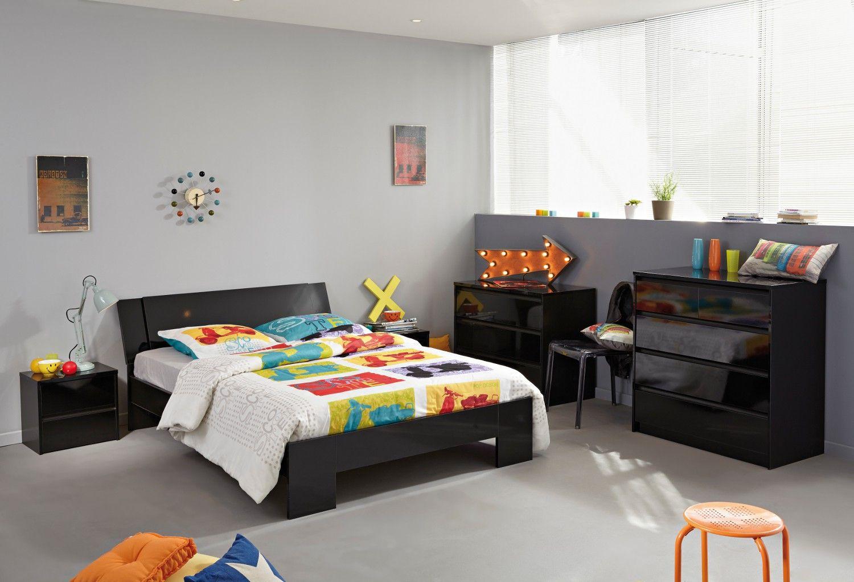 nouveaut chambre compl te en bois laqu noir norina chambre adulte tr s design. Black Bedroom Furniture Sets. Home Design Ideas