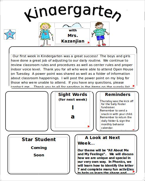 Kindergarten Newsletter Templates  Free Sample Example