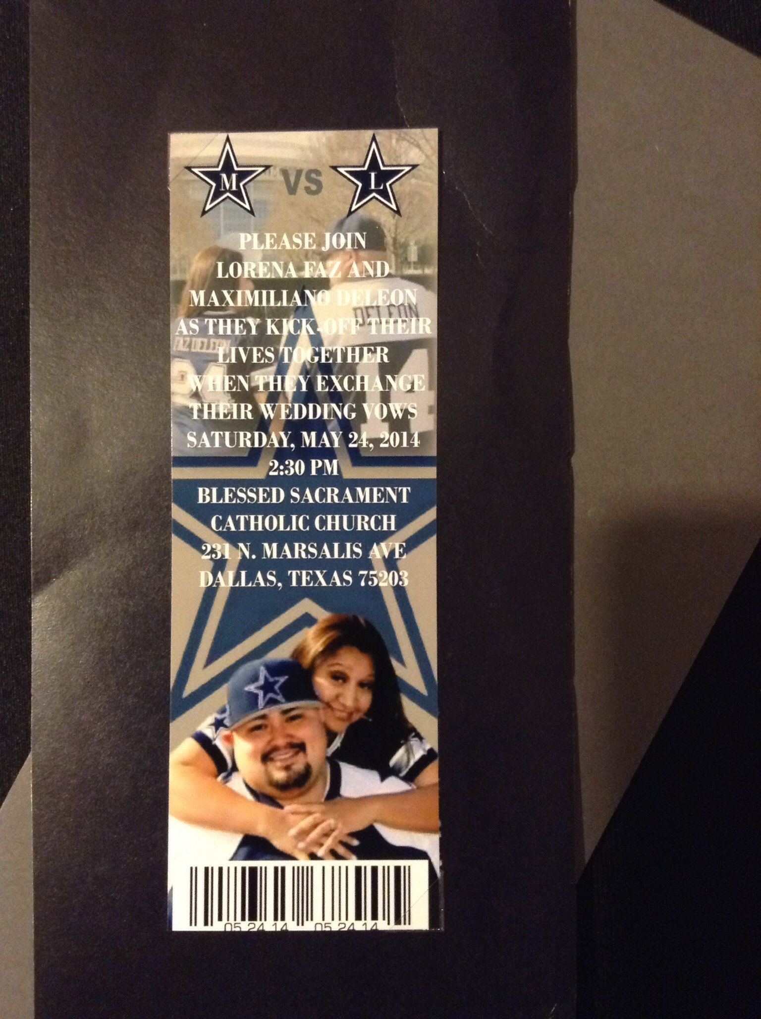 Dallas Cowboys Ticket Wedding Invitation Dallas Cowboys Wedding