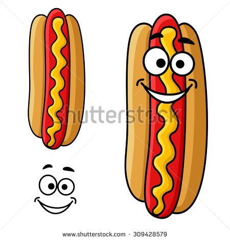 Fast Food Hot Dog Cartoon Character With Mustard Sauce And Happy