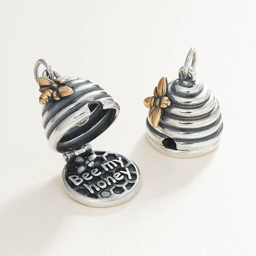 Beehive with a Bee Charm Flat Silver Ring