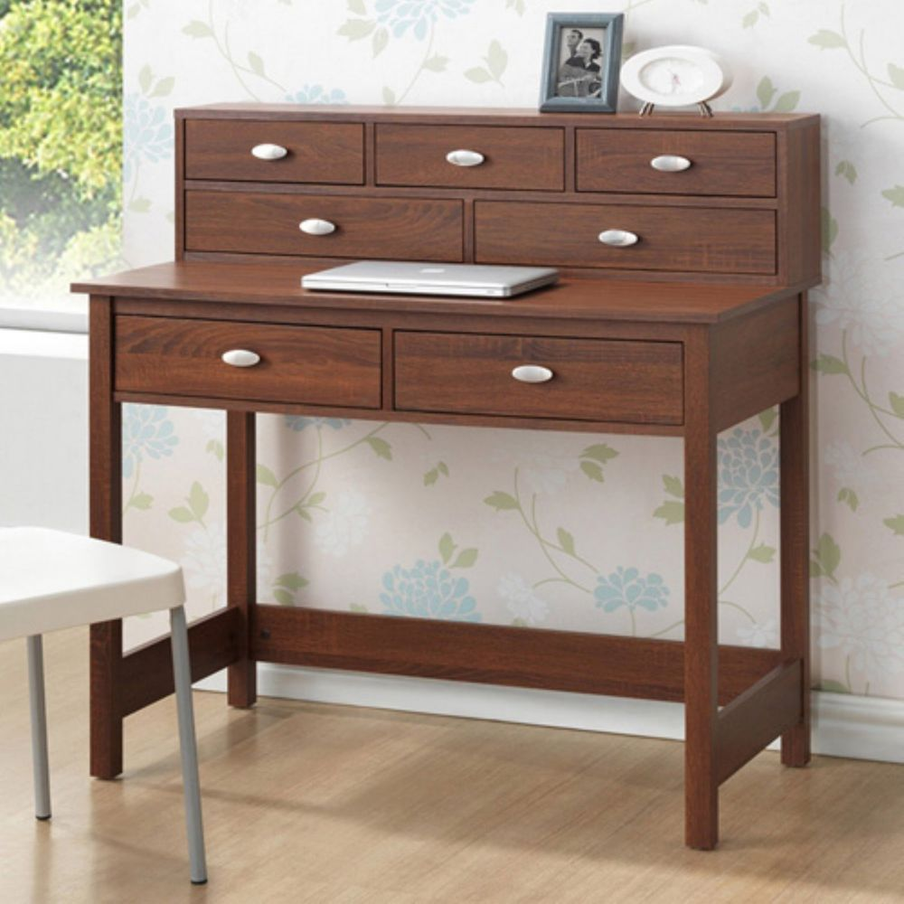 Small Writing Desk With Hutch 7 Storage Drawers Contemporary Wood