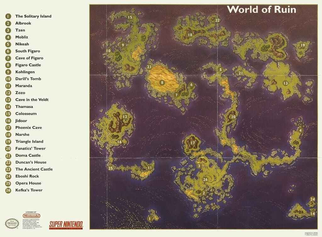 Final Fantasy 6 Vi Ff6 World Maps Dungeons And Dragons