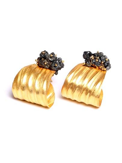 Jennie Gill X Nomad 22ct Gold Plated Silver Black Diamond Woven Earrings Made in UK  https://www.nomadatelier.co.uk/?location=category&id=3&section=8&product=60