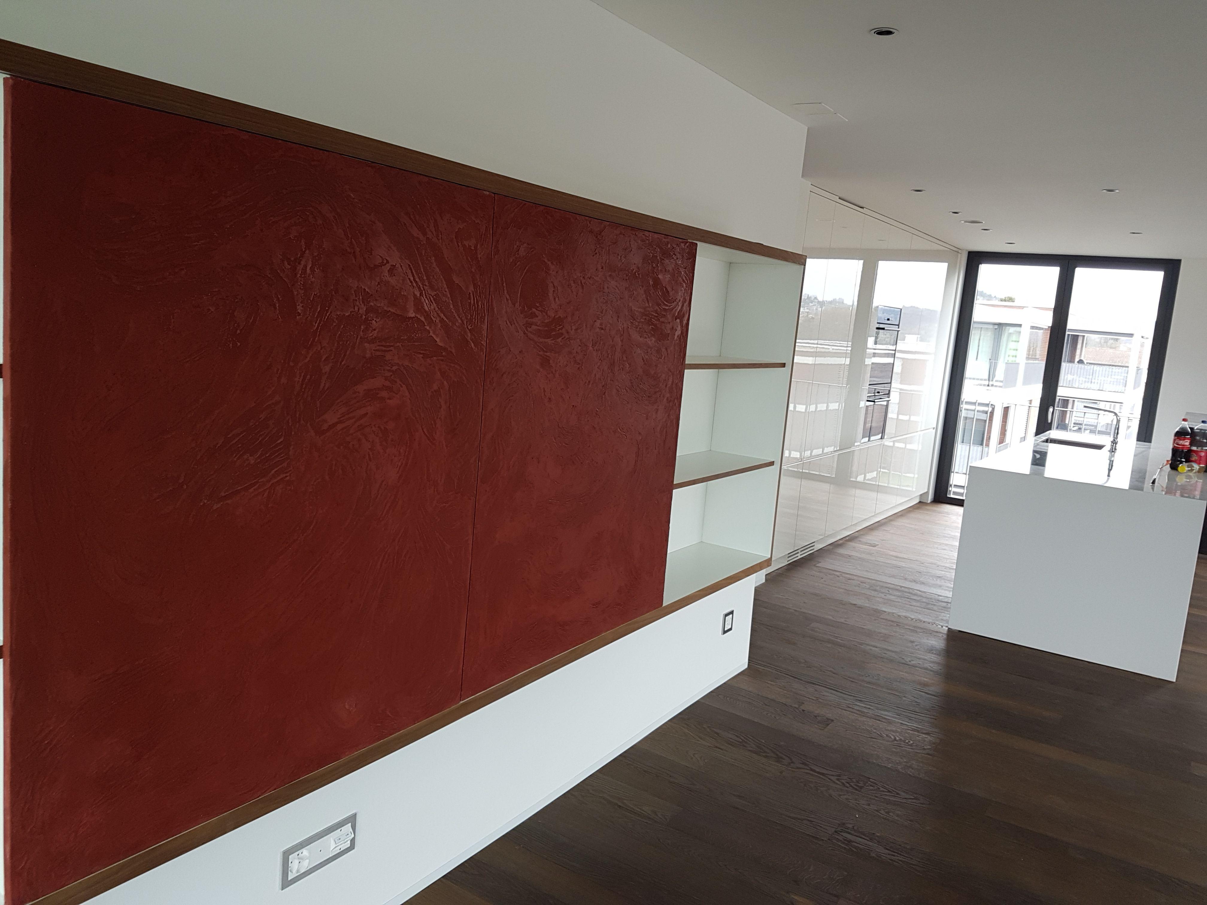 Fernsehabdeckung mit terrastone gespachtelt - Design wandgestaltung ...